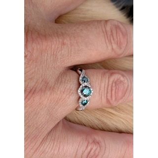 Miadora 1/2ct Blue and White Diamond TW 3 Stone Ring 14k White Gold Rhodium Plated
