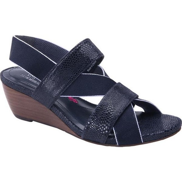 16387a2c5 Shop Ros Hommerson Women's Wynona Strappy Wedge Sandal Navy Leather - Free  Shipping Today - Overstock - 13690459