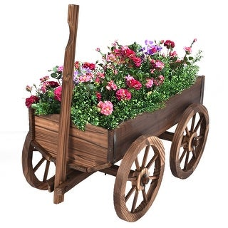 Costway Wood Wagon Flower Planter Pot Stand W/Wheels Home Garden Outdoor Decor