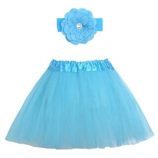 Turquoise Dance Tutu Skirt Flower Headband Set Ages 3-8 - One size