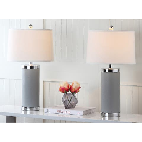 "SAFAVIEH Lighting 26-inch Grey Leather Column Table Lamp (Set of 2) - 14""x14""x25"""