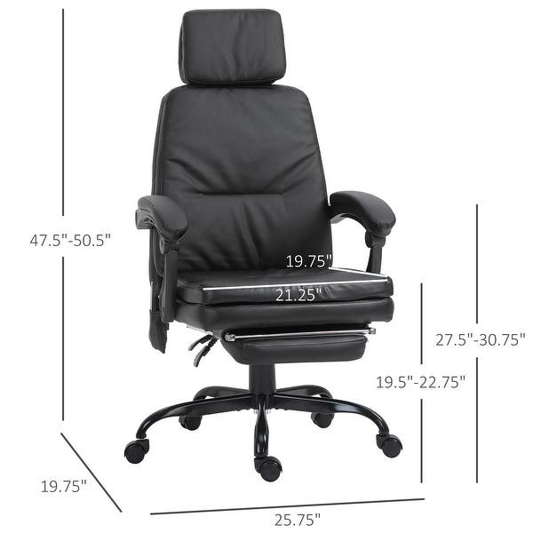 Vinsetto High Back Massage Office Chair with 7-Point Vibration Heating Function Reclining Back and Adjustable Height with Lumbar Support Headrest Footrest Brown