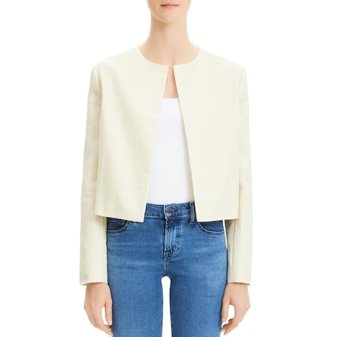 Theory Womens Open-Front Blazer Cropped Linen - Tan - 2
