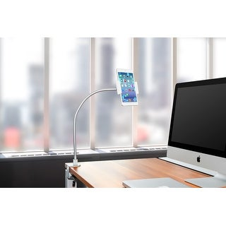 """Heavy Duty Aluminum Gooseneck iPad Holder, Cell Phone Desk Mount Tablet Holder iPad Stand for Office Kitchen Bed, Fits 3.5""""-10"""""""