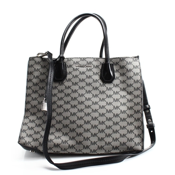 Shop Michael Kors NEW Gray Coated Canvas Signature Mercer Tote Bag ... c04a80055f578