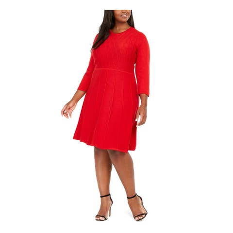 JESSICA HOWARD Red 3/4 Sleeve Knee Length Dress 1X