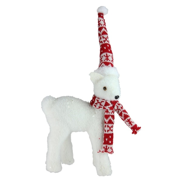 """14.5"""" White Standing Deer in Nordic Hat and Scarf Christmas Decoration"""