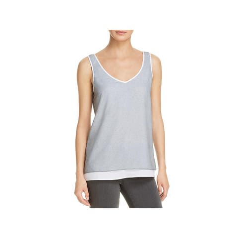 Kenneth Cole New York Womens Casual Top Satin Layered