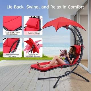 Finether Hanging Chaise Lounge Chair Outdoor Indoor Hammock Chair Swing with Arc Stand