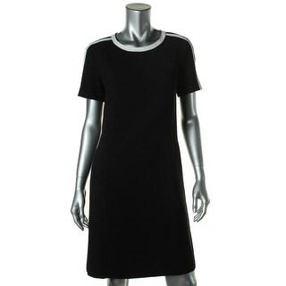 Jones New York Womens Contrast Trim Short Sleeves Shirtdress - 10