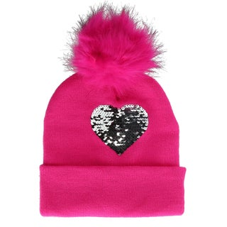 Alexa Rose Girls' Sequins Cuff Beanie Hat with Pom