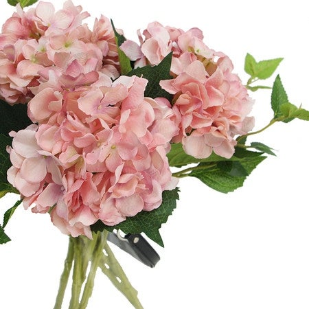 "G Home Collection Luxury Silk Hydrangea Stem in Light Pink 18"" Tall"
