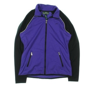 L-RL Lauren Active Womens Hooded Colorblocked Athletic Jacket