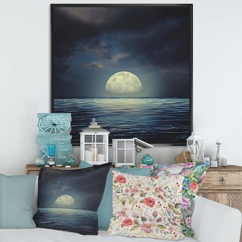 Designart 'Super Moon Over The Sea II' Nautical & Coastal Framed Canvas Wall Art Print