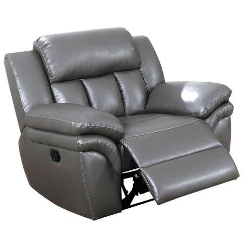 Leatherette Manual Recliner with Pillow Top Arms, Gray