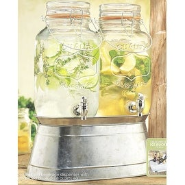 Palais Glassware High Quality Clear Glass Beverage Twin Dispenser with Bail & Trigger Locking Lid - 3.68 Quart Each