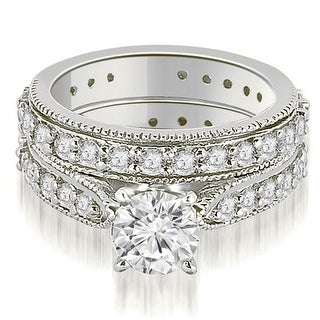 2.00 CT.TW Cathedral Round Cut Eternity Diamond Engagement Matching Se - White H-I (More options available)