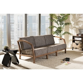 Baxton Studio Velda Modern and Contemporary Walnut Brown Wood and Gravel Multi Color Fabric 3-Seater Sofa
