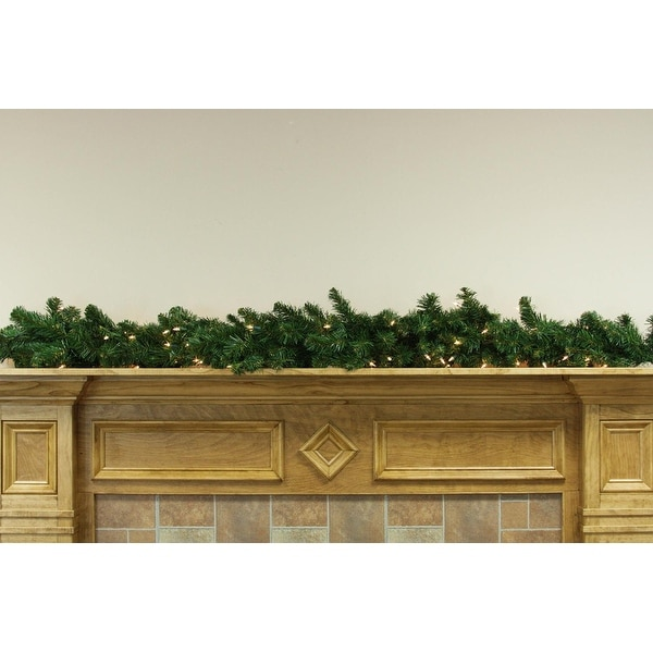 """6' x 12"""" Pre-Lit Middleton Artificial Christmas Garland - Clear Lights"""
