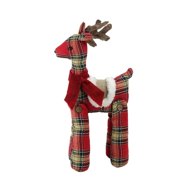 "16.5"" Holiday Moments Red and Brown Plaid Standing Reindeer Christmas Decoration"