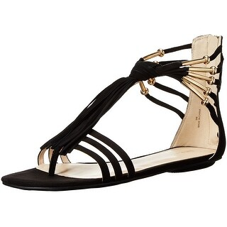 Nine West Womens Emberly Fabric Split Toe Casual T-Strap Sandals