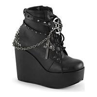 Demonia Women's Poison 101 Ankle Boot Black Vegan Leather