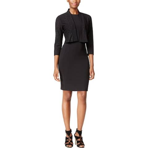 Calvin Klein Womens Petites Shrug Embellished Open Front - Black