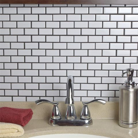 SomerTile 11.875x12-inch Zaharina Subway White Porcelain Mosaic Floor and Wall Tile (10 tiles/9.9 sqft.)