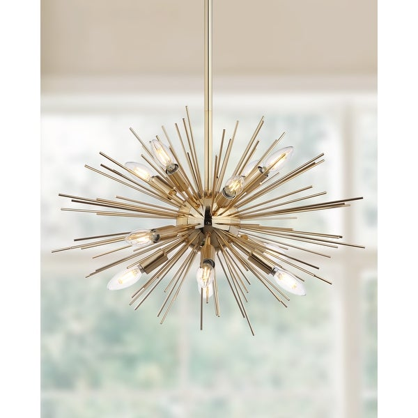 "Safavieh Lighting Zadie Gold Retro Sunburst LED 12-light Adjustable Pendant - 24.5""x24.5""x18-48"". Opens flyout."