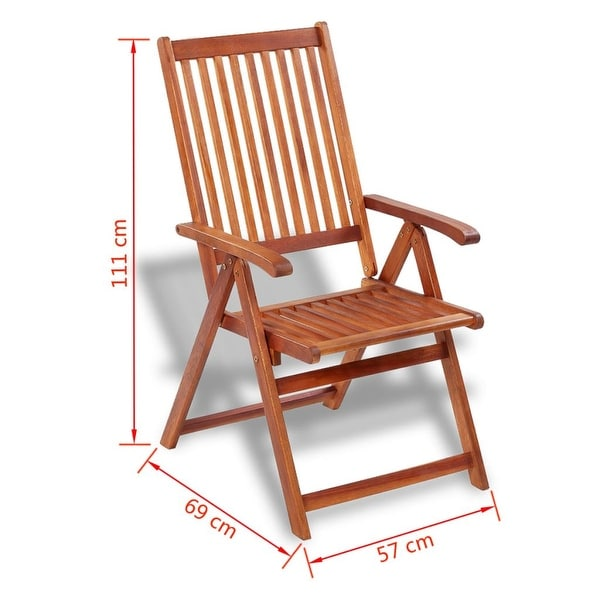 2pcs Folding Wooden Outdoor Garden Dining Chairs Set Acacia Wood Patio Terrace