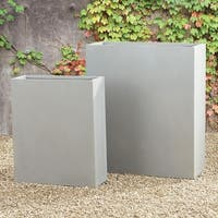 Set of 2 Decorative Tall Narrow Planters with a Light Gray Concrete Finish