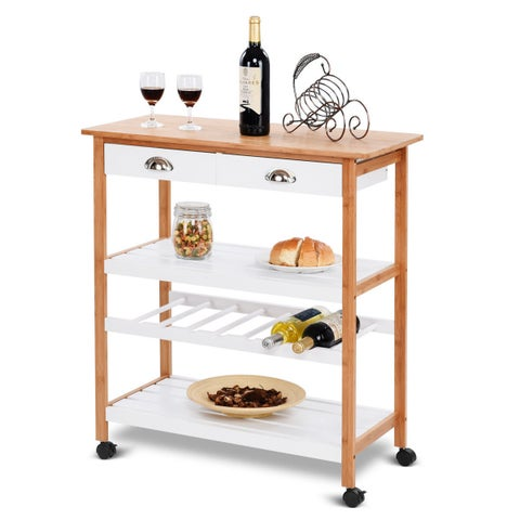 Gymax Bamboo Rolling Kitchen Trolley Cart Storage Island Utility w/Drawers&Shelf New - as pic