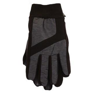 Isotoner Men'S Grey Black Nylon Fleece Touchscreen Athletic Winter Gloves S-M