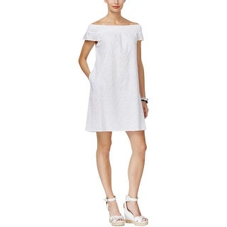 Tommy Hilfiger Womens Casual Dress Off-The-Shoulder Eyelet