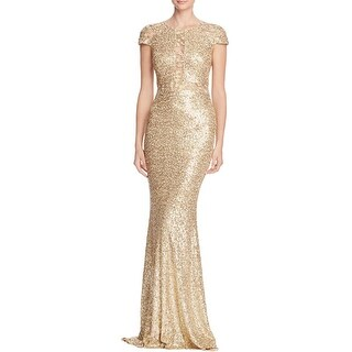 Badgley Mischka Womens Evening Dress Sequined Mesh Inset