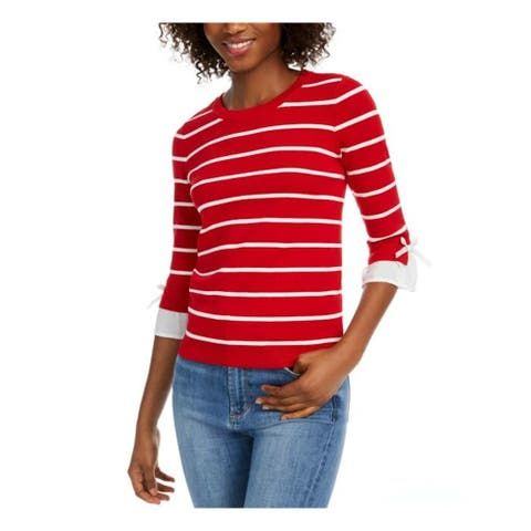 MAISON JULES Womens Red Striped 3/4 Sleeve Jewel Neck Sweater Size M