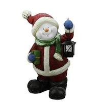 "19"" Festive Glitter Snowman with Lantern Christmas Table Top Decoration - Red"
