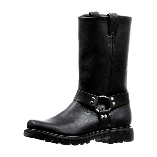 Boulet Motorcycle Boots Mens Broad Square Toe Ring Grasso Black