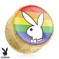 Playboy Bunny Logo on Rainbow Print Wood Saddle Plug (Sold Individually)