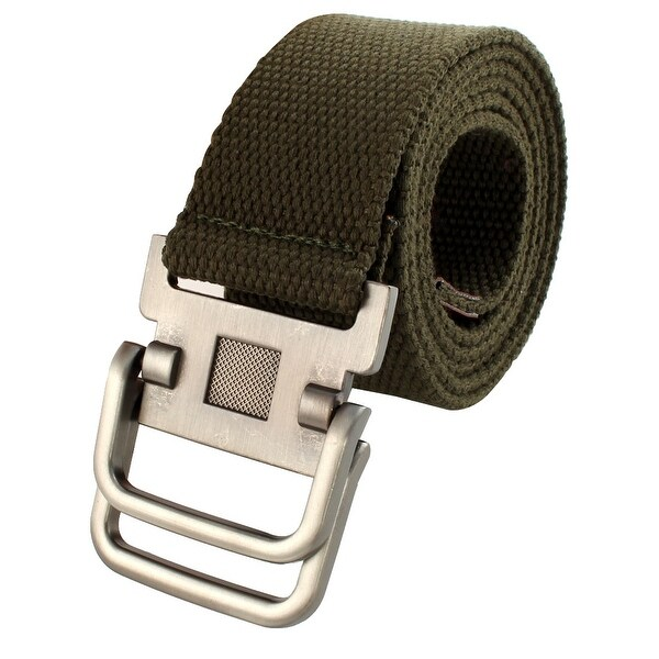 Men Sports Casual Nylon Adjustable Canvas Web Waist Belt Green