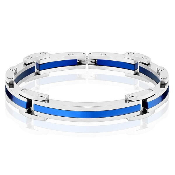 Two Tone Blue IP Stainless Steel Link Bracelet (12.5 mm) - 8.25 in