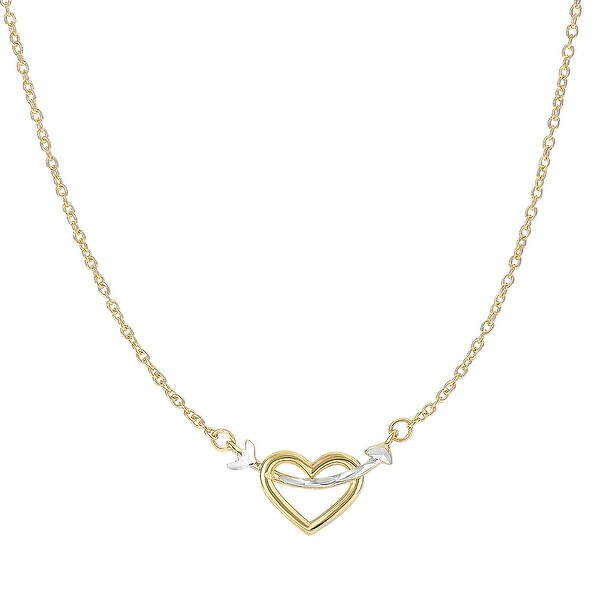 Mcs Jewelry Inc 14 KARAT TWO TONE, YELLOW GOLD AND WHITE GOLD, HEART AND ARROW PENDANT NECKLACE (18 INCHES) - Multi