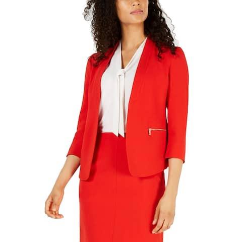 Anne Klein Women's Jacket Lipstick Red Size 2 Open Front Zip Pocket