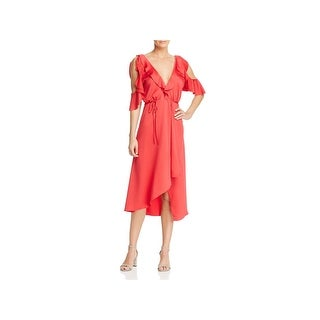 French Connection Womens Maudie Wrap Dress Cold Shoulder Midi