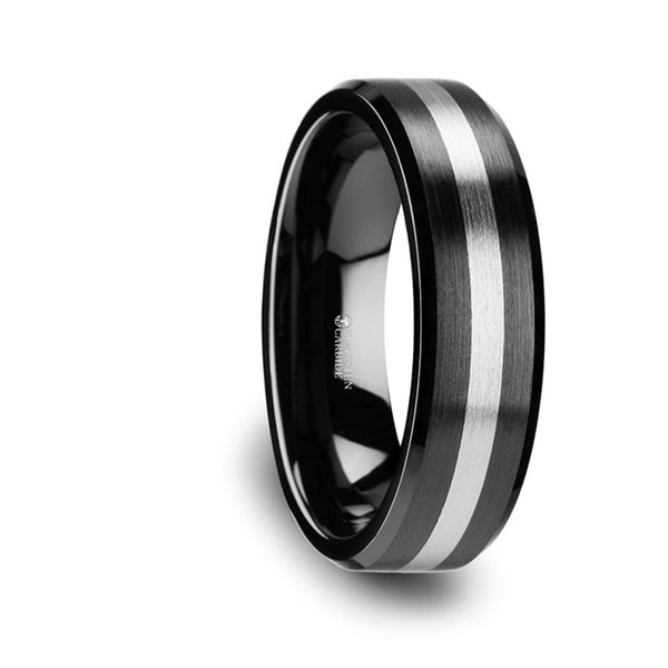 THORSTEN - PHOENIX Brushed Black Ceramic Ring with Beveled Edges and Tungsten Inlay - 6mm