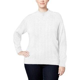 Karen Scott Womens Plus Mock Turtleneck Sweater Cable Knit Embellished