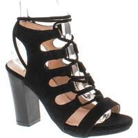 Chase & Chloe Benjamin-1 Women's Open Toe Bondage Lace Up Slingback Chunky Heel Suede Sandals