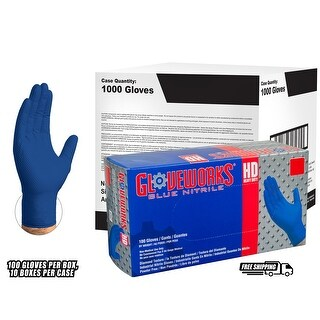 GLOVEWORKS Royal Blue Nitrile Latex Free Disposable Gloves (Case of 1000)