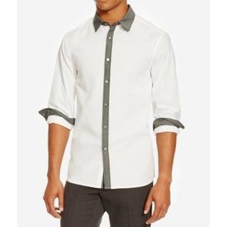 Kenneth Cole Reaction NEW White Men Large L Contrast Button Down Shirt