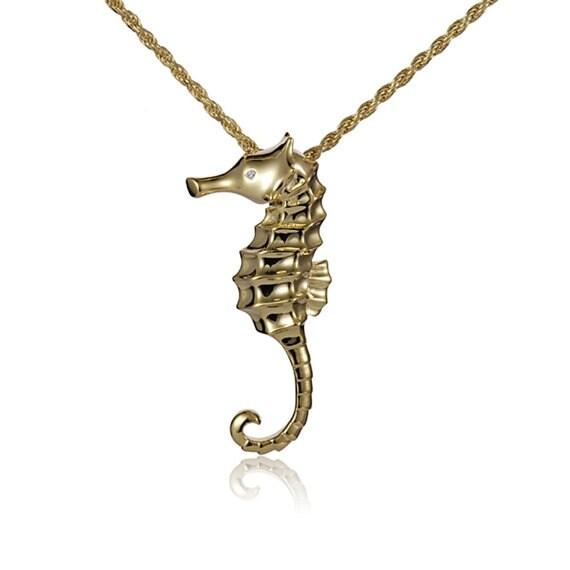 "Seahorse Necklace 14k Gold Pendant 18"" Chain"